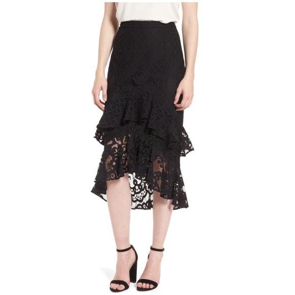 Chelsea28 Dresses & Skirts - Chelsea28 Black Tiered Lace Midi Skirt